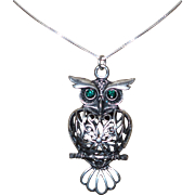 Vintage Silver Pewter Filigree Owl Pendant/Necklace  with a Sterling Silver Chain