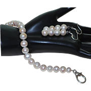 Artisan Created Cultured Pearl Bracelet with Earrings