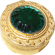 Vintage Italian Trinket/Pill Box With Large Emerald Green Glass Cabochon