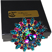 Signed DiMartino Original Brooch With Watermelon & Peacock Rhinestones  In Original Box