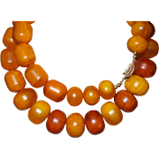 Vintage African Amber Bead Necklace Marked 14k- 1/20th Gold Clasp