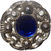 Vintage Victorian Revival Brooch With Large Sapphire Glass Stone