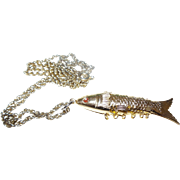 Vintage Articulated Fish Pendant in Gold Tone Metal