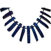Artisan Created Long Spike Midnight Blue Agate Necklace with Earrings