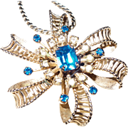 Signed Barclay Necklace/Brooch With Large Light Blue Rhinestone in Gold Tone Metal