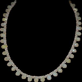 Artisan Created Un-Polished Lemon Citrine Faceted Briolette Necklace