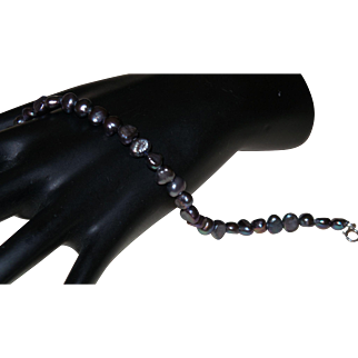 Artisan Created Peacock Grey Freshwater Pearl Bracelet With Sterling Clasp