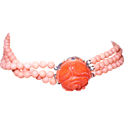 Vintage Angel Skin Coral Triple Strand Necklace with Carved Clasp