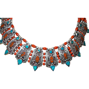 Vintage Ethnic Tribal Red Coral and Turquoise Inlay Collar Bib Necklace with Bali Silver