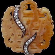 Vintage KJL Brooch Faux Carved Jade Brooch with Rhinestones Book Piece