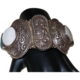 Vintage Ethnic Turquoise, Carnelian and Bone Wide Silver Cuff Bracelet