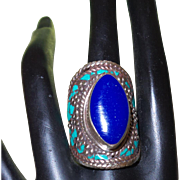 Vintage Ethnic Lapis and Turquoise Ring Set in Silver