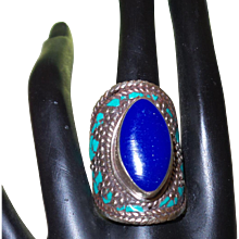 Vintage Ethnic Lapis and Turquoise Ring Set in Silver - Red Tag Sale Item