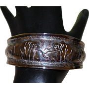 Vintage Ethnic Plated Elephant Motif Cuff Bracelet