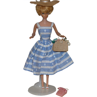 Vintage Barbie Suburban Shopper Outfit with Hat, Phone, Purse, and Shoes