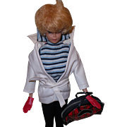 Vintage Barbie Winter Holiday Outfit With White Leather Jacket, Belt and Plaid Tote Bag