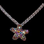 Vintage Multi Colored Sapphire Starfish Pendant Set in Silver