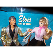 Vintage Barbie Loves Elvis Dolls with Complete Outfits and Guitar
