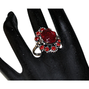 Victorian Revival Cocktail Ring With Ruby Red Rhinestones