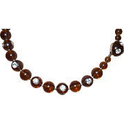 Vintage Root Beer Lucite Necklace with Large Rhinestones Bezel Set