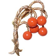 Vintage Gold Tone Tree of Life Brooch With Dangling Faux Coral