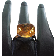 Signed DYACH Checkerboard Cushion Cut Citrine Ring Set in 10 Karat Yellow Gold