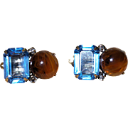 Gorgeous Signed Iradj Moini Blue Topaz and Faux Amber Clip Earrings