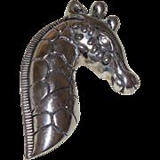 Vintage Figural Giraffe Brooch in Silver Tone Metal