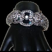 Vintage Crystal Encrusted Enamel Leopard Clamper Bracelet