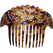 Victorian Celluloid Hair Comb in Faux Tortoise shell