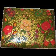 Vintage Gold Tone Cigarette Case with Front Floral Pattern