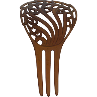 Vintage Art Nouveau Celluloid Hair Comb