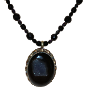 Artisan Created Black Onyx Necklace with Crystals and Black Druzy Quartz Pendant