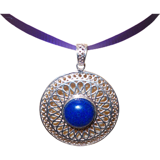 Vintage Italian  Sterling and Lapis Medallion with Sterling Chain