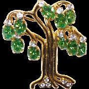 Vintage KJL Tree of Life Brooch with Bright Green Rhinestones