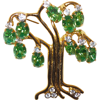 Vintage KJL Tree of Life Brooch with Bright Green Rhinestones