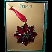 Trifari Poinsettia Christmas Ornament in Original Box