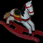 Vintage Christmas Rocking Horse Figure In Painted Wood