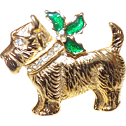 Vintage Scottie Christmas Pin in Gold Tone Metal