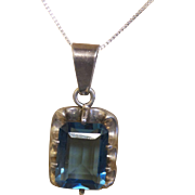 Vintage Blue Topaz Pendant Marked Mexico 925 with Silver Chain