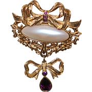 Vintage Avon Brooch with Faux Peal and Faux Amethyst Rhinestones in Gold Tone Metal
