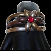 Vintage Mixed Metal Cuff Bracelet with Rhinestone