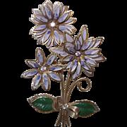 Vintage Enamel and Rhinestone Flower Brooch