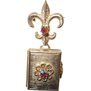 Vintage Fleur de Lis Coro Locket with AB Stones