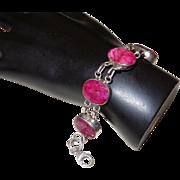 Ethnic Faceted Natural Red Kashmiri Ruby Bracelet Set in Silver