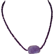 Artisan Created Amethyst Necklace with Amethyst Crystal Quartz Pendant