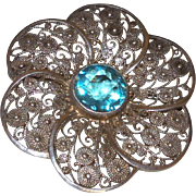 Vintage Silver Filigree Brooch with Blue Topaz Stone