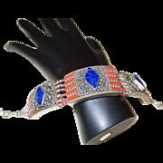 Vintage Ethnic Silver Plate Coral Lapis Bracelet