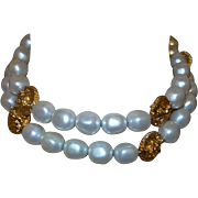 Vintage Anne Klein Faux Pearl/Medallion Necklace