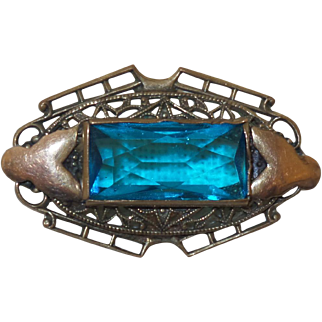 Vintage Czech Stone Brooch